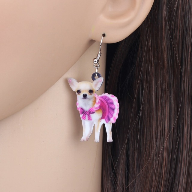 Bonsny Acrylic Pink Dress Chihuahua Dog Earrings Big Long Dangle Drop Animal Jewelry For Girls Women.jpg 640x640 - Bonsny Acrylic Pink Dress Chihuahua Dog Earrings Big Long Dangle Drop Animal Jewelry For Girls Women Ladies Teen Accessories Pet