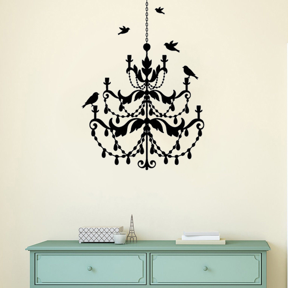 Chandelier Lamp Wall Decal Birds Flying