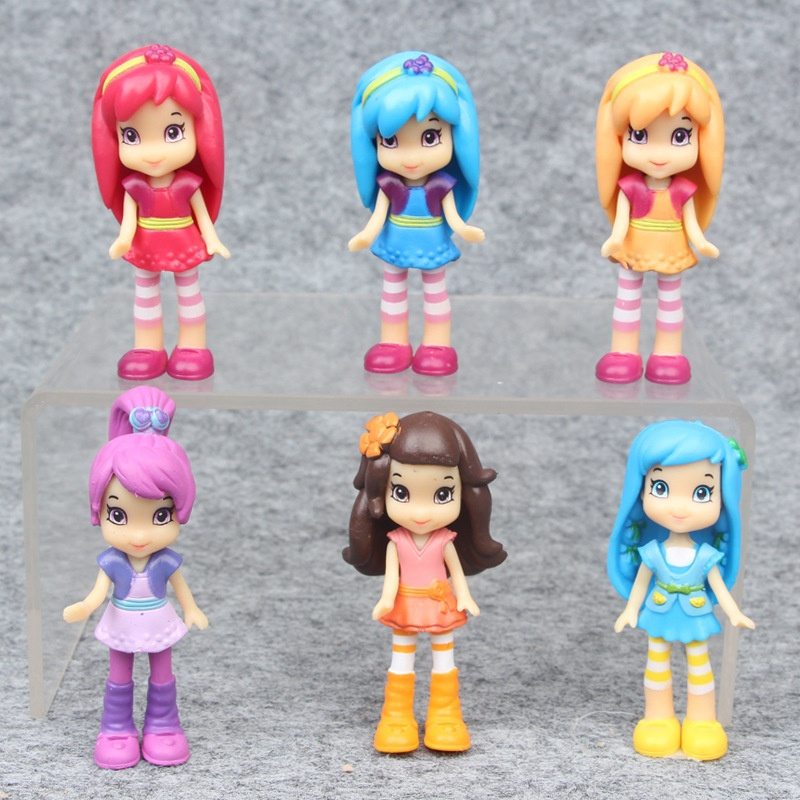 Action & Toy Figures Honesty Cartoon Strawberry Girls Action Figure Toys Pvc Shortcake Princess Dolls 6pcs/lot 7cm Discounts Price