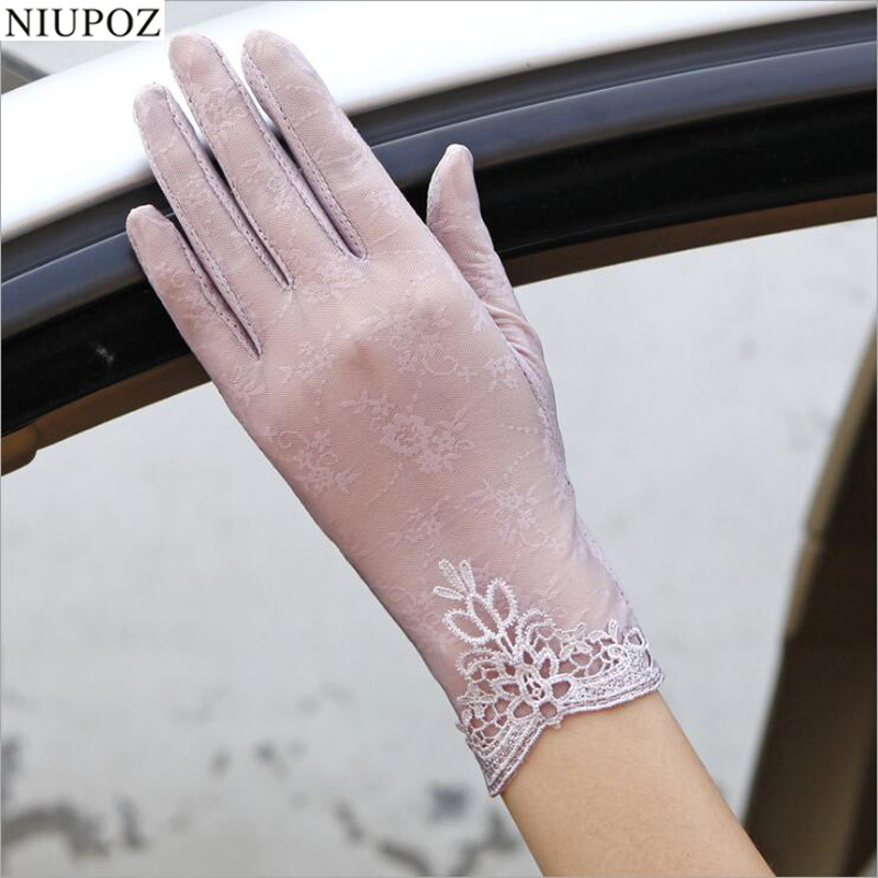 Sexy Summer Women UV Sunscreen Short Sun Female Gloves Fashion Ice Silk Lace Driving Of Thin Touch Screen Lady Gloves G02E(China)