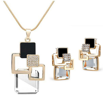 Classic Geometric Square Crystal Jewelry Set 2