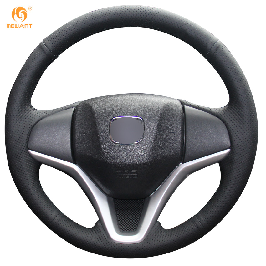 MEWANT Black Genuine Leather Car Steering Wheel Cover for Honda New Fit City Jazz 2014 2015 HRV HR-V 2016 Vezel 2015-2017 special hand stitched black leather steering wheel cover for vw golf 7 polo 2014 2015