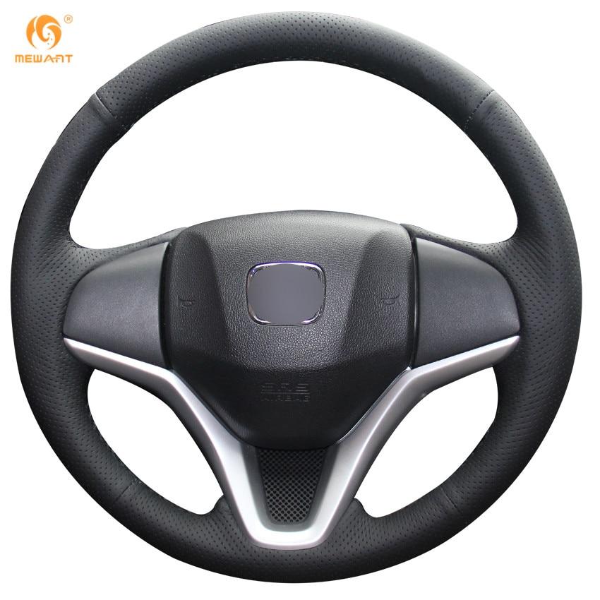 MEWANT черный подлинная кожаный руль Обложка для Honda Новый Fit Город Джаз 2014 2015 ВСР ч-в 2016 зажима 2015-2017
