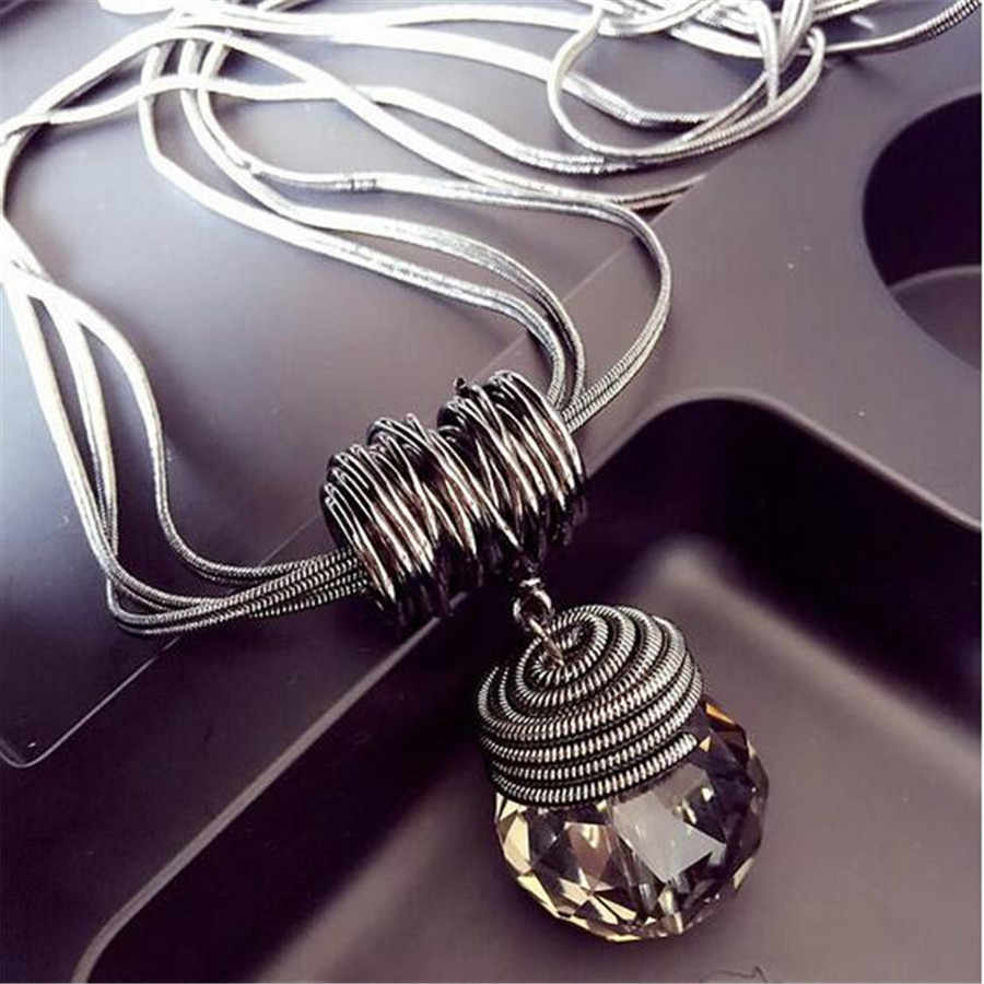 Meyfflin Long Necklace Crystal Women Necklace Jewelry 2019 Fashion Black Chain Drops Maxi Necklaces Pendants Kolye Collier