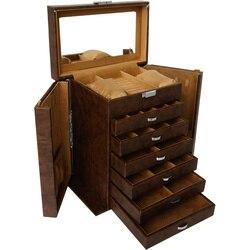 Nueva caja de joyería de cuero Vintage, caja de regalo, caja de embalaje de joyería, gran caja exquisita de maquillaje, organizador de joyas de lujo, almacenamiento