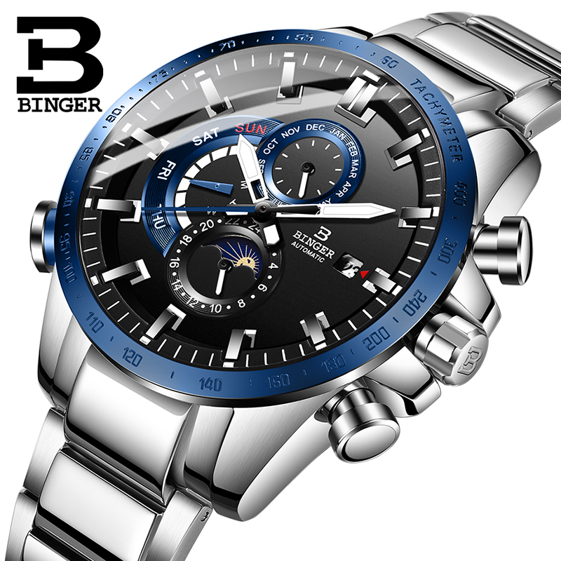 Switzerland BINGER Watch Men Automatic Mechanical Luxury Brand Men Watches Men Watch Luminous relogio masculino Sport