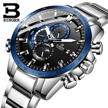 Switzerland BINGER Watch Men Automatic Mechanical Luxury Brand Men Watches Men Watch Luminous relogio masculino Sport Clock B8-3 switzerland binger brand men automatic mechanical watches luminous waterproof full steel belt energy display male fashion watch