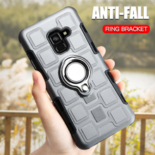 Luxury Armor Case For Samsung Galaxy A8 2018 Silicone Shockproof Phone Cover Plus Ring Holder