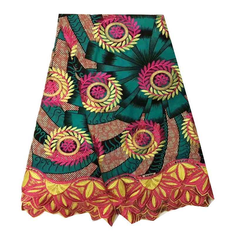 새로운 도착 아프리카 왁스 레이스 원단 멀티 컬러 디자인 나이지리아 자수 레이스 앙카라 왁스 원단 여성 파티 드레스 6 야드-에서직물부터 홈 & 가든 의  그룹 1
