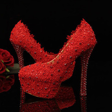 Red Lace Wedding Dress Shoes Rhinestone High Heels for Bridal Dress More Heels Available Pink Bridesmaid Shoes