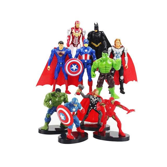 10.5 cm Brinquedos The Avengers Super hero Figura Set Batman Thor Capitão América Super hero Action Figure Collectible Modelo Meninos bonecas