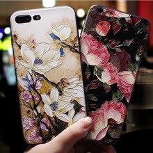 Için Huawei P20 lite Durumda lüks Gardenya çiçek 3D Kabartma Mat TPU telefon kılıfı için Huawei P10 P9 Lite Pro Kapak onur için ...
