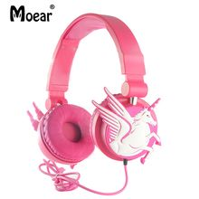 hot deal buy children kids retractable unicorn headphones wired earphones  for mp3 players tablets pc music sharing function