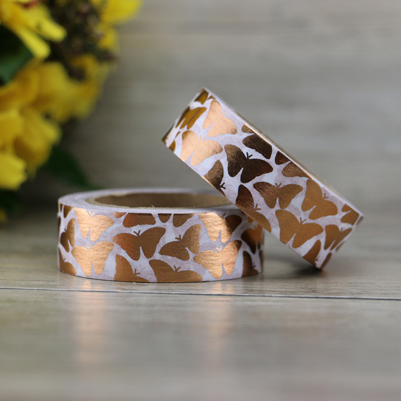 Golden Copper Foil Washi Tape Butterfly Japanese 1.5cm*10m Kawaii Stickers Scrapbooking Tools Diy Photo Album Masking Tape