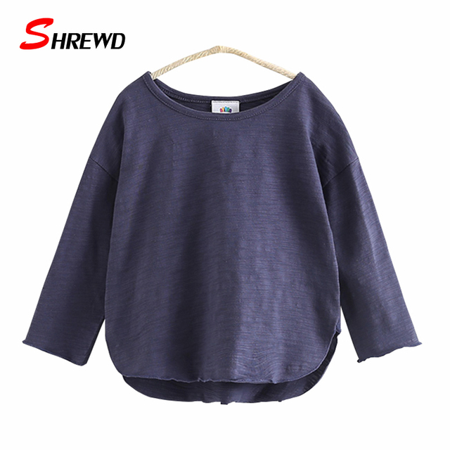 T-shirt Girl 2017 New Spring Casual Solid Color Tops For Girls Simple Long Sleeve O-neck Kids Clothes Girls 4631W
