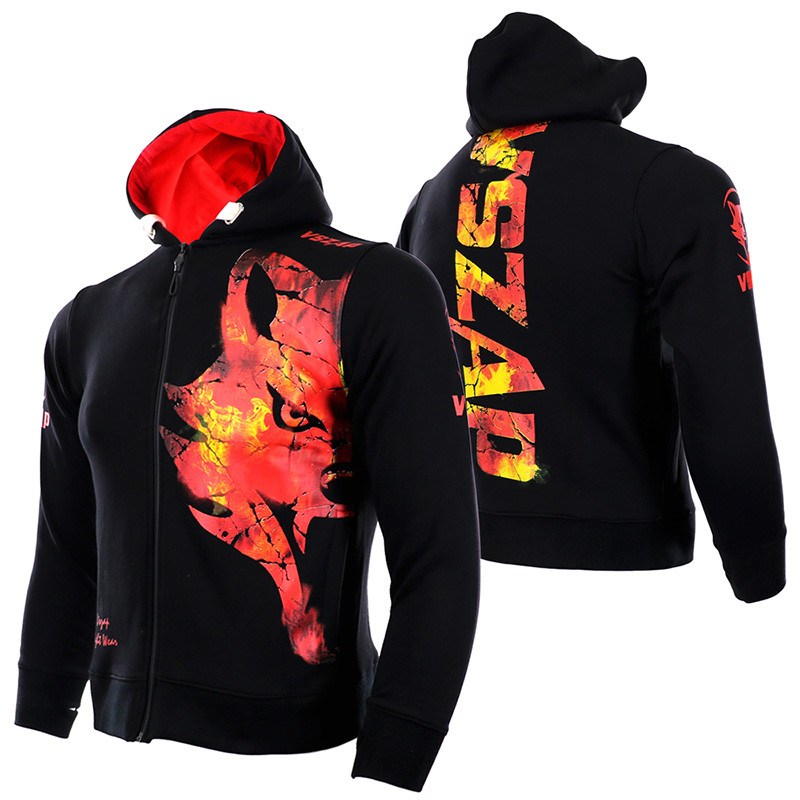 VSZAP Men MMA Hoodies Coat Winter Fleece Thicken Unisex Sweatshirts ICE/FIRE Fitness Kickboxing Sporting Jacket