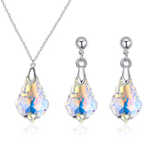 Bulage Romantic Real Crystals From Swarovski Jewelry Sets Silver Color Geometric Pendant Necklace Drop Earrings For Women Gifts joyashiny crystals from swarovski classic romantic heart pendant necklaces drop earrings jewelry sets for women lovers gift