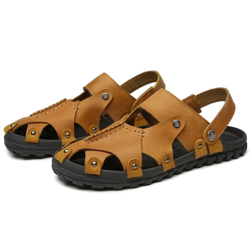 38 Dos Clássicos brown De Verão Sapatos Macio Moda Homens 47 Macias Confortáveis Sandálias Grande Couro Confortável Black 1OpSIq4I