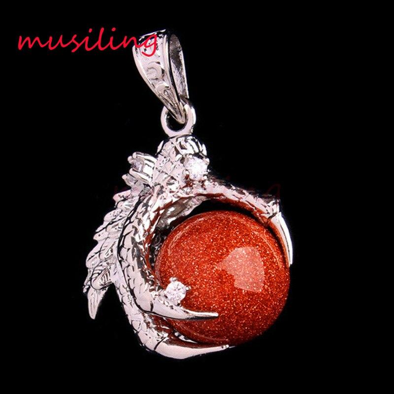 416b917506c1 Musiling joyería Piedra Natural bola Cuentas Dragon Claw Colgantes  rhinestone péndulo Amuletos europea de moda para hombre joyería 10 unids