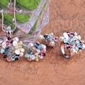 Blucome simulado pérola conjuntos de jóias esmalte azul colar de flores conjunto de brincos de argola para as mulheres bijoux acessórios do casamento de noiva