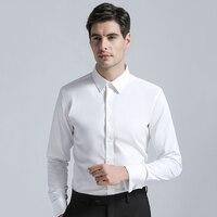 High Quality Brands New Men's Cotton Dress Shirts Regular Fit Cufflink Shirt Men Solid Color Long Sleeve Business Suits Shirts
