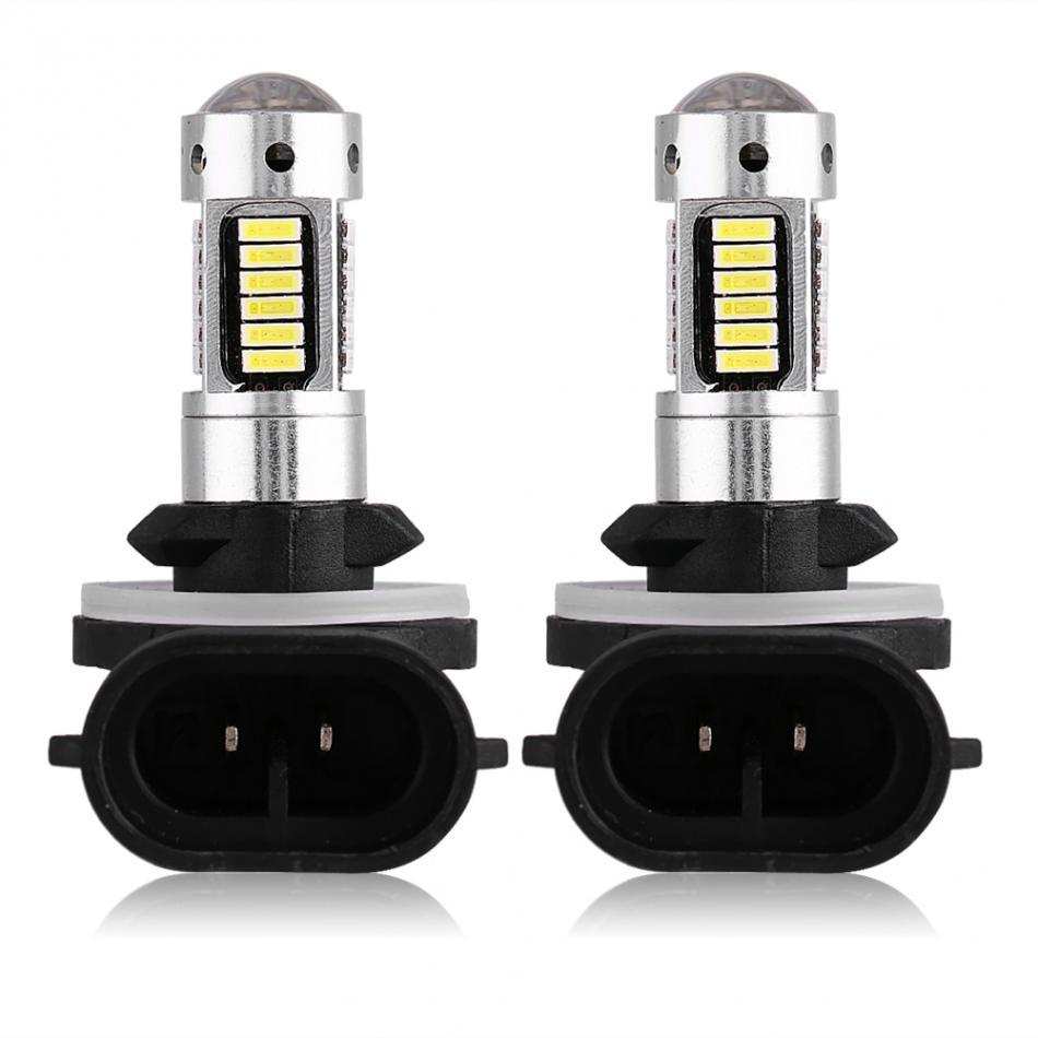 Car-Styling Pair of 881 4014 White LED Car Headlight Fog DRL Light Bulb Lamp DC 12V