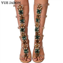Sexy Pvc Transparent Gladiator Sandals Woman Open Toe T-strap Rhinestone Diamond Clear High Heel Shoes Women Summer Long Boots