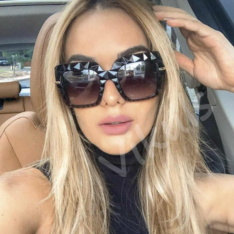 2019 جديد أنيق السيدات قاطع ماسي النظارات الشمسية النساء الفاخرة العلامة التجارية مصمم مربع نظارات شمسية الإناث ظلال الموضة oculos