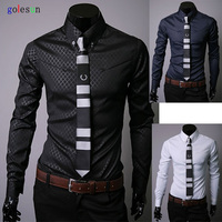 New Long Sleeved Pointed Collar Shirt Dark Grain L Sliming Shirt