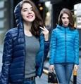 Плюс Размер Новый 2016 Зима Две Стороны Женщин Белая Утка Куртка женская Капюшоном Ultra Light Вниз Куртки Теплые Зимние Пальто Парки KL217
