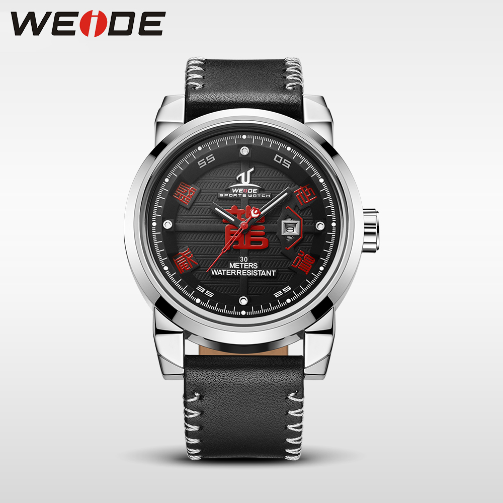 все цены на WEIDE Brand Watch Men Waterproof High Quality Leather Strap Unique Dragon Dial Analog Date luxury Sport Quartz automatic Watch