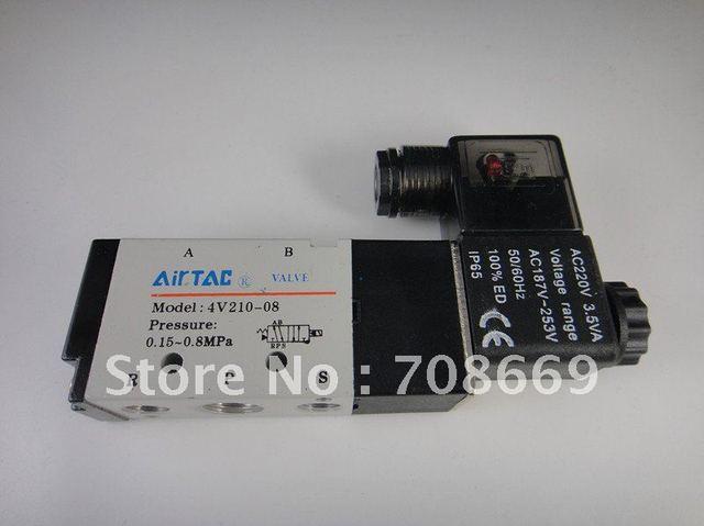 5 Way 2 Position Electric Solenoid Valve 4V210-08 AC 220V