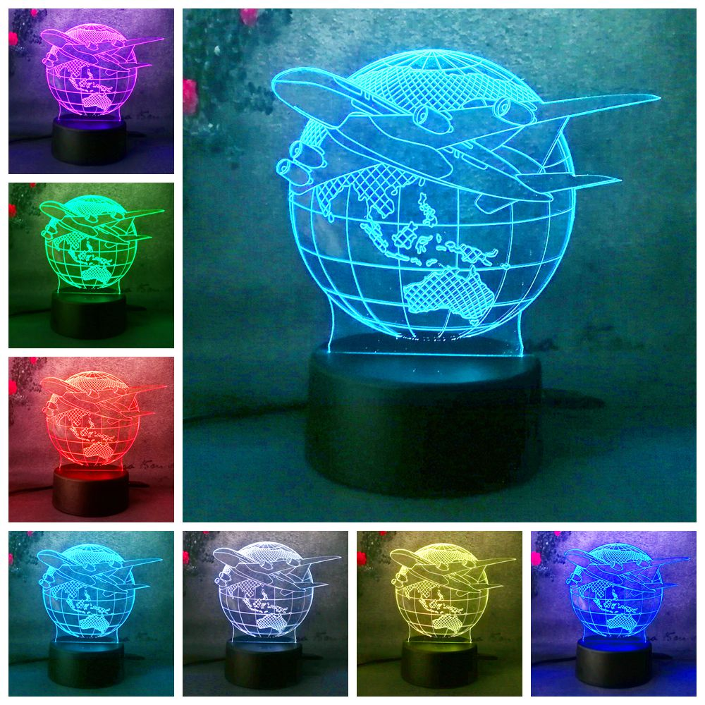 3D Lampara Night Light Lamp Earth Plan Aircraft Globe Earth 7 Color Change Child Kid Lave Table Desk Decor Halloween Christmas new 2018 3d planet earth night light desk table lamp color change rc control baby sleep lamp kid halloween christmas gift decor
