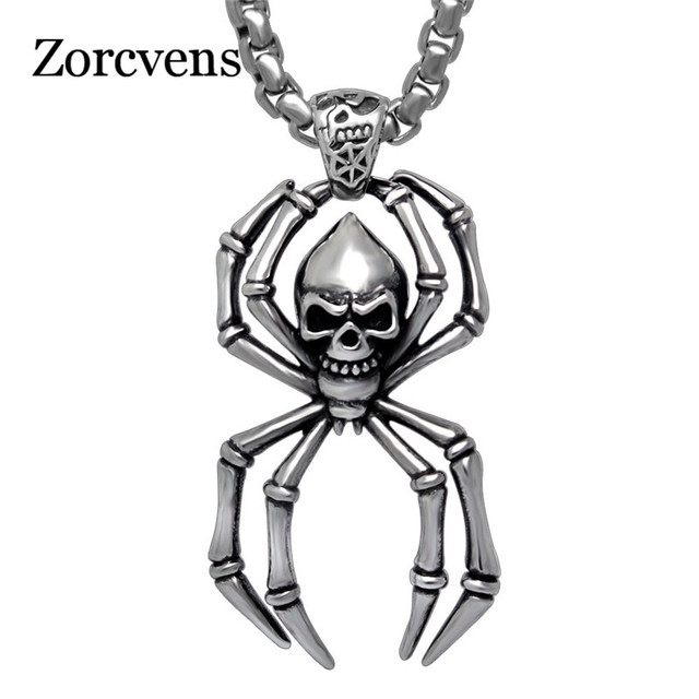 Zorcvens retro stainless steel spider pendant necklace silver color zorcvens retro stainless steel spider pendant necklace silver color skull punk jewelry for men aloadofball Image collections