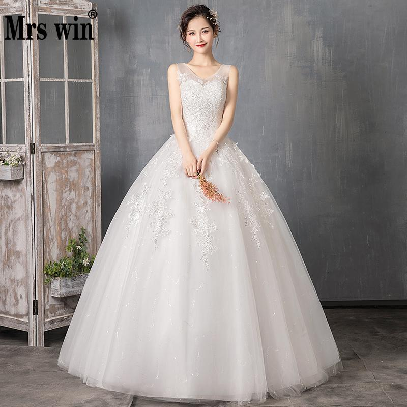 Wedding Dress 2019 Mrs Win The V-neck Floor-length Lace Up Ball Gown Princess Luxury Lace Bling Bling Wedding Dresses Plus Size