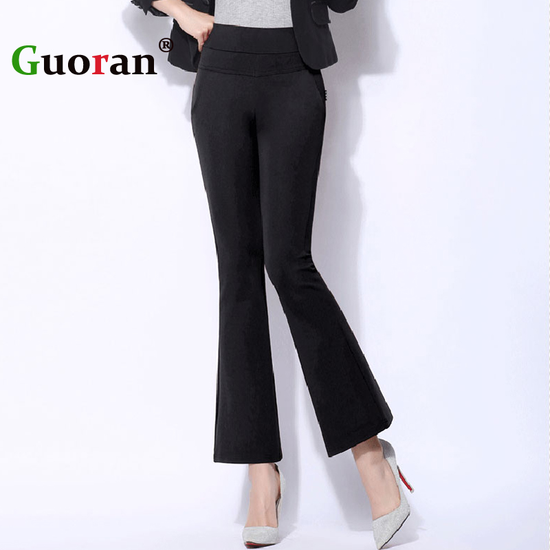 77c2f04795  Guoran  High Waist Stretch Women Flared Pants Black White Plus Size 4xl Ladies  Office Work Trousers Wide Leg Pant pantalon