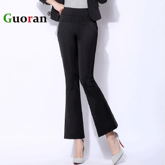 7e0339023b6  Guoran  High Waist Stretch Women Flared Pants Black White Plus Size 4xl  Ladies Office