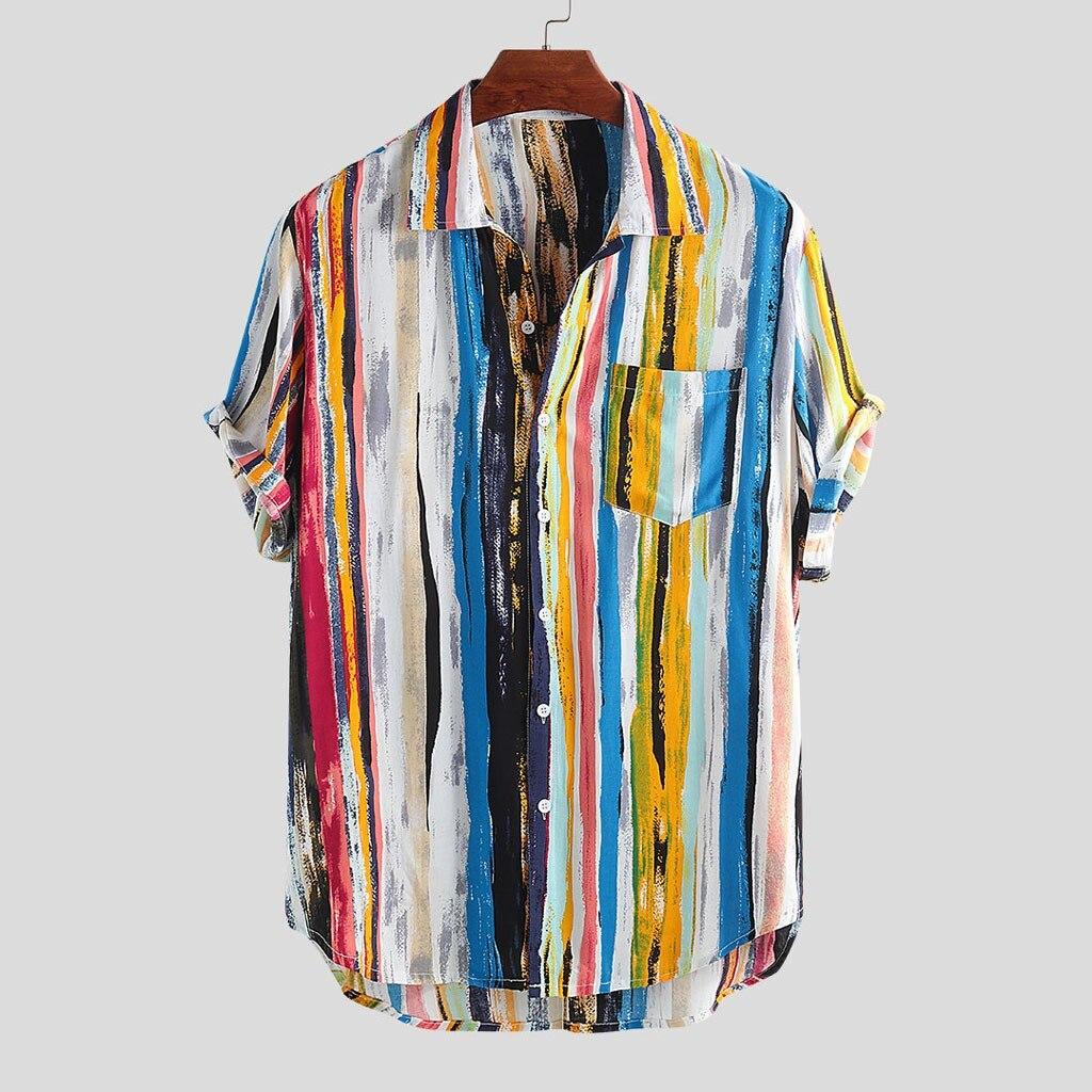Mens Multi Color Lump Chest Pocket Short Sleeve Round Hem Loose Shirts Full Beach Shirts Aloha Shirts Summer Party Shirt 7.12