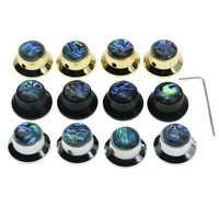 Dopro 4x qualité ensemble vis Abalone haut guitare basse métal chapeau haut-de-forme boutons cloche bouton pour Les Paul avec 6mm arbre Pots