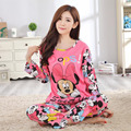 pyjamas women 2016 spring and autumn girl warm red long sleeved pajamas sets lady Home sleepwear clothing