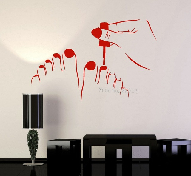 New arrivals sticker wall pedicure beauty salon nail art vinyl wall decal stickers removable murals custom