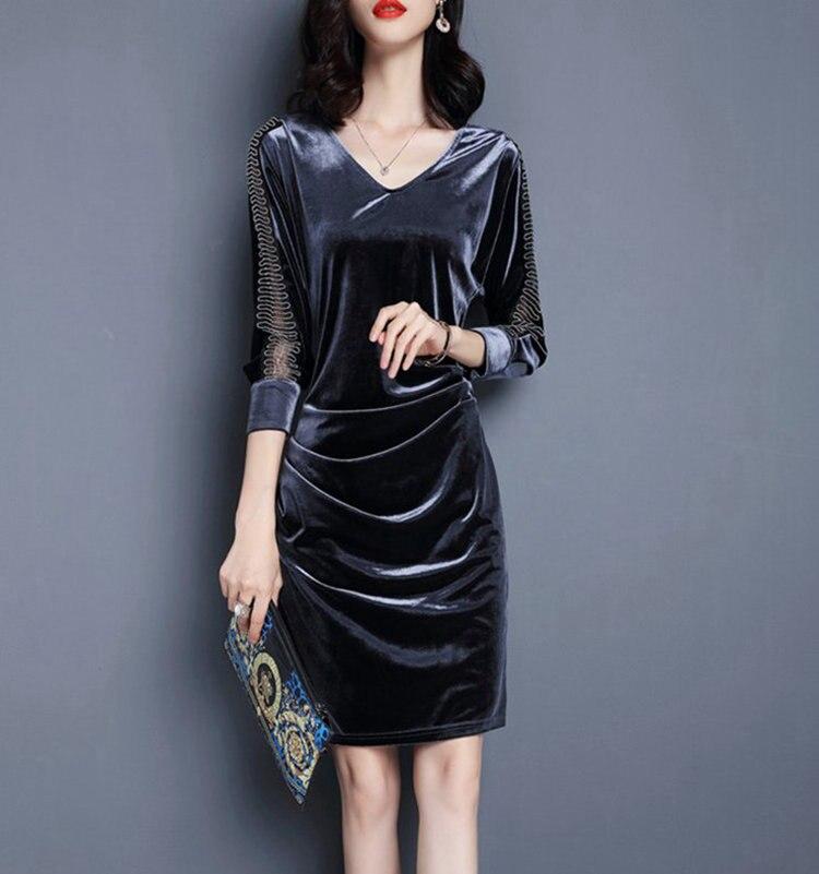 d6411719379 ... New Winter Autumn Dress Women 2019 Velour Dresses Female Casual Mesh  Patchwork Robe Femme Plus Size ...