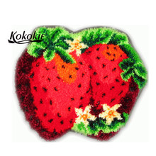 3d Fruit strawberry printed carpet crochet tapis needle for carpet embroidery needlework diy latch hook kits rug tapestry kits(China)
