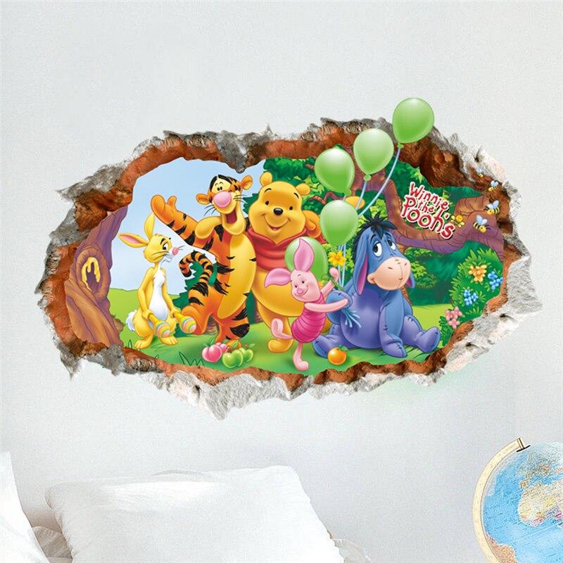 through wall cartoon winnie the pooh bear wall sticker for funny winnie the pooh baby nursery room wall sticker