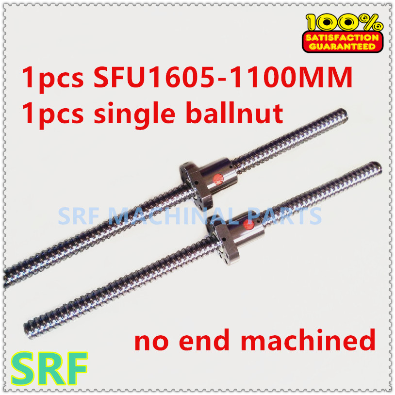 16mm Rolled Ballscrew SFU1605 set:1pcs  Ball screw length 1100mm+1pcs single ball nut without end machined for CNC part sfu1605 400mm ballscrew with ball screw nut for cnc part without end machined