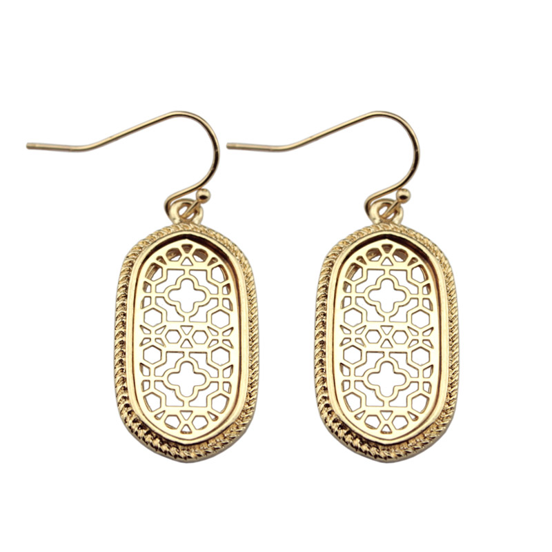 8 Colors Option Gold Small Cutout Oval Drop Earrings for Women