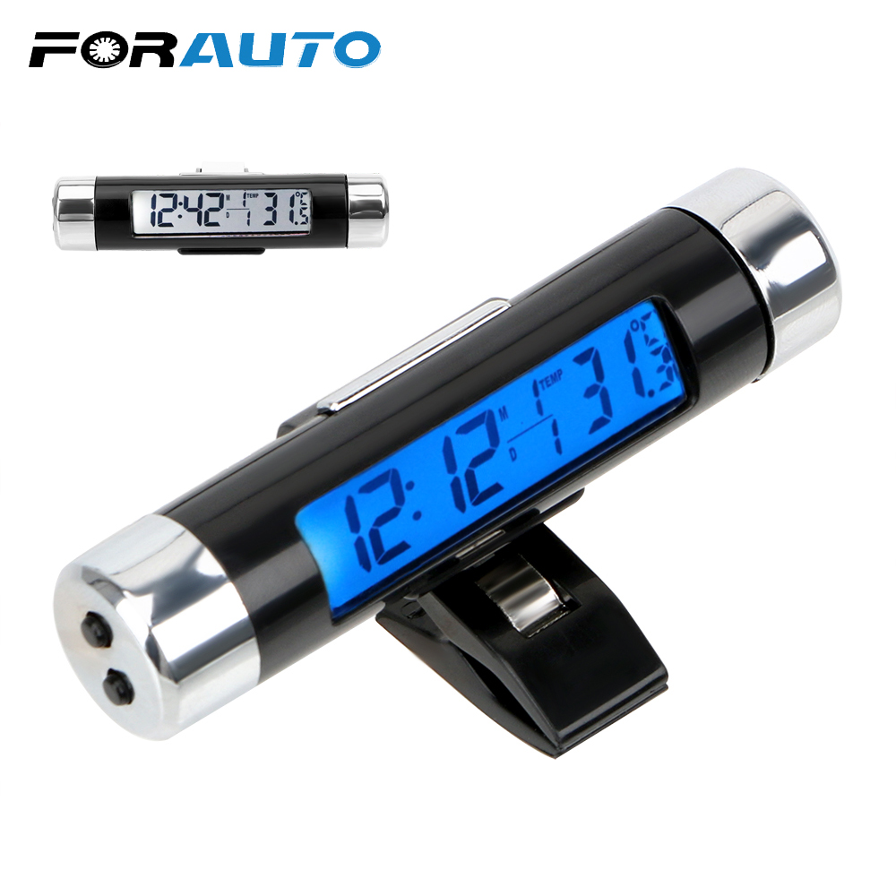 3 In 1 Car Ornaments Car Clock Calendar Thermometer LCD Display Screen Digital Blue/White Back Light Automotive Accessories