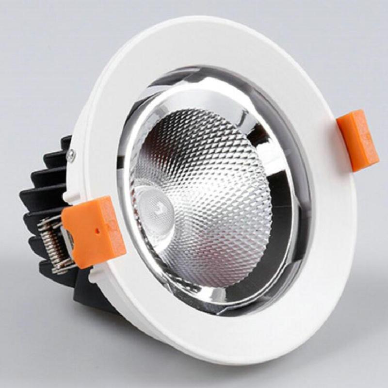 6 pièces 50 W LED Downlights AC85-265V ROND Noir Blanc LED Plafonnier Lampe Éclairage Intérieur Avec Lecteur