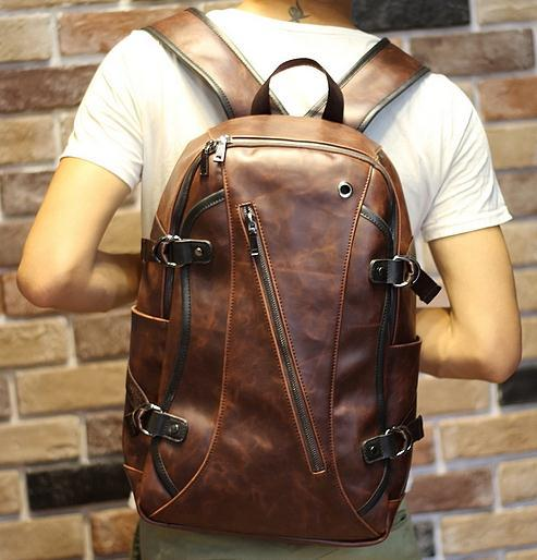 New Retro men backpacks Crazy horse Leather 14 inch computer ...