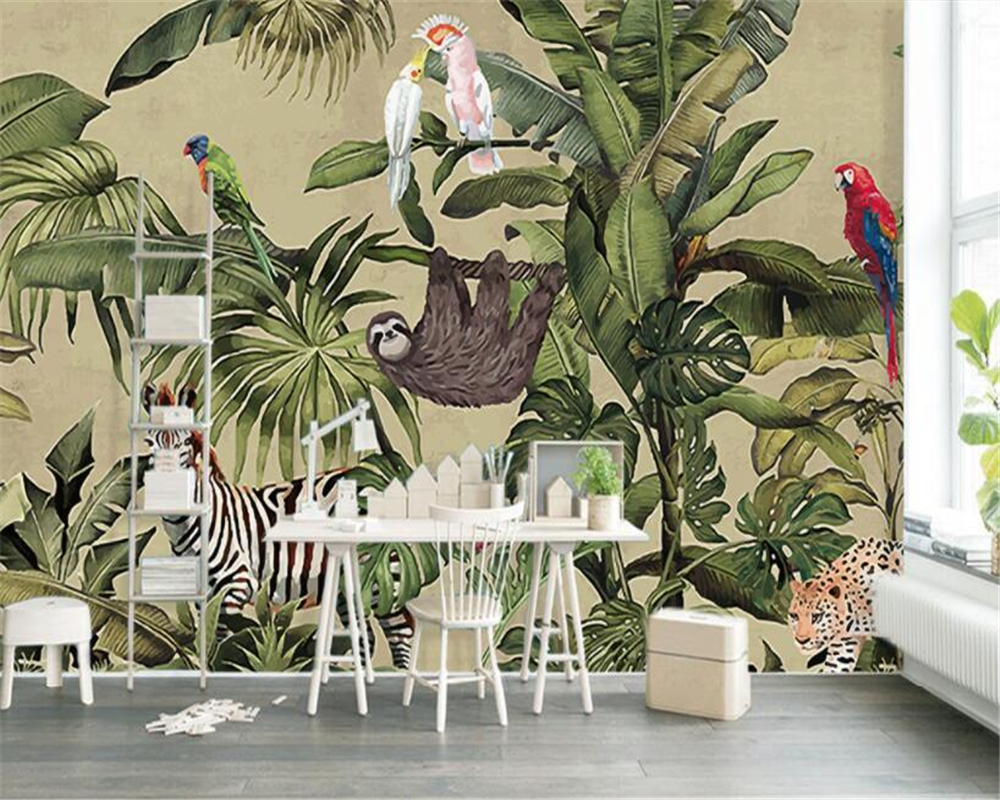 Beibehang Photo Wall Mural Wallpaper Retro Tropical Rainforest Animal Palm Leaf Living Room TV Wall Wallpaper Papel De Parede